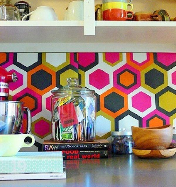 Wallpapered kitchen backsplash