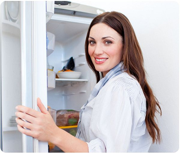 lady using Refrigerator