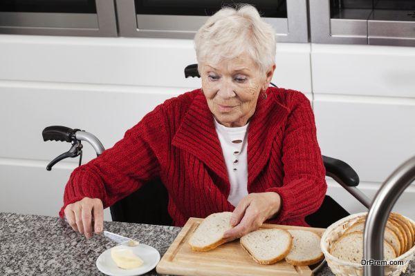 Lady on wheelchair making breakfast