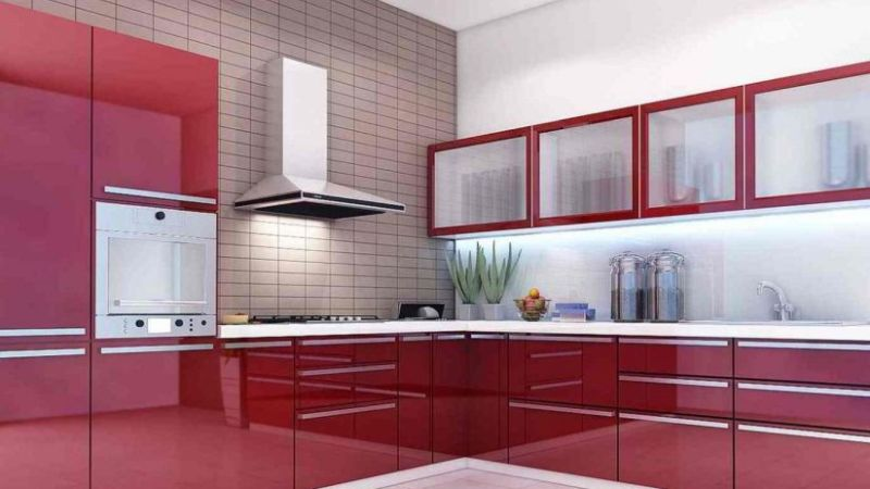 Red shade modular kitchen